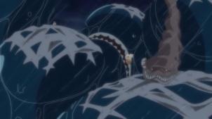 O que é aquilo em cima da baleia da esquerda?