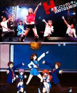Da esquerda pra direita: Tomokazu Sugita, Chihara Minori, Hirano Aya, Yuuko Gotou e Ono Daisuke.