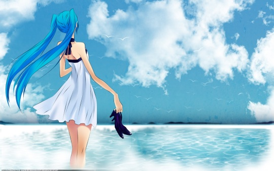 Konachan.com - 48901 animal beach bird dress hatsune_miku katase_waka sky twintails vocaloid water