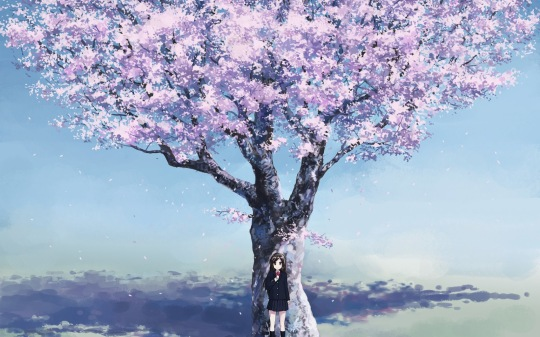 Wallpaper-spring-sakura-flower-tree-anime-girl-schoolgirl-hd